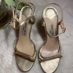 Jimmy Choo gold metallic high heels